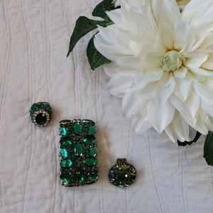 Green & Blue Rings & Bracelet Jewelry *Bundle*